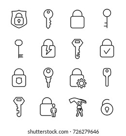 Simple collection of keys and locks related line icons. Thin line vector set of signs for infographic, logo, app development and website design. Premium symbols isolated on a white background.
