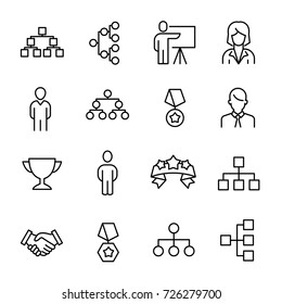 Simple collection of leadership related line icons. Thin line vector set of signs for infographic, logo, app development and website design. Premium symbols isolated on a white background.