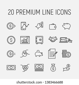 Simple collection of loan debt related line icons. Thin line vector set of signs for infographic, logo, app development and website design. Premium symbols isolated on a white background.