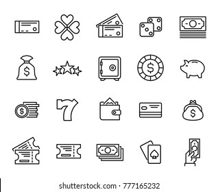 Simple collection of lottery related line icons. Thin line vector set of signs for infographic, logo, app development and website design. Premium symbols isolated on a white background.