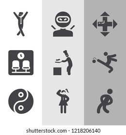 Simple collection of male related filled icons  about ninja signs for infographic, logo, app development and website design.  premium symbols isolated on a stylish background.