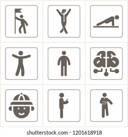 Simple collection of man related filled icons  about hunter signs for infographic, logo, app development and website design.  premium symbols isolated on a stylish background.