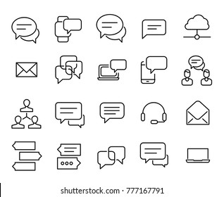 Simple collection of media communication related line icons. Thin line vector set of signs for infographic, logo, app development and website design. Premium symbols isolated on a white background.