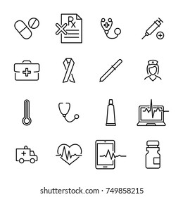 Simple collection of medical related line icons. Thin line vector set of signs for infographic, logo, app development and website design. Premium symbols isolated on a white background.