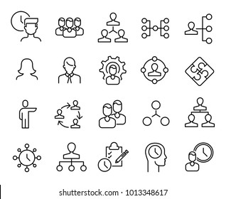 Simple collection of organization related line icons. Thin line vector set of signs for infographic, logo, app development and website design. Premium symbols isolated on a white background.