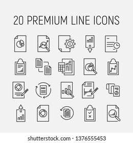Simple collection of report related line icons. Thin line vector set of signs for infographic, logo, app development and website design. Premium symbols isolated on a white background