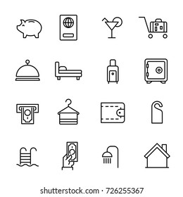 Simple collection of room service related line icons. Thin line vector set of signs for infographic, logo, app development and website design. Premium symbols isolated on a white background.