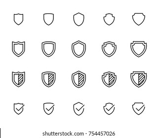 Simple collection of shield related line icons. Thin line vector set of signs for infographic, logo, app development and website design. Premium symbols isolated on a white background.