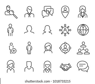 Simple collection of social media related line icons. Thin line vector set of signs for infographic, logo, app development and website design. Premium symbols isolated on a white background.