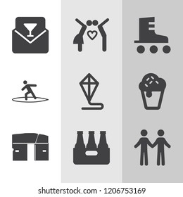 Simple collection of summer related filled icons.  about  signs for infographic, logo, app development and website design.  premium symbols isolated on a stylish background.