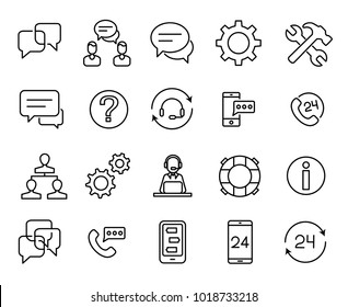Simple collection of support service related line icons. Thin line vector set of signs for infographic, logo, app development and website design. Premium symbols isolated on a white background.