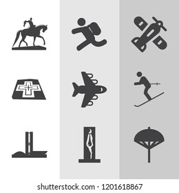 Simple collection of travel related filled icons.  about  signs for infographic, logo, app development and website design.  premium symbols isolated on a stylish background.