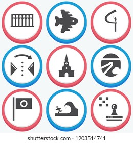 Simple collection of travel related filled icons  about  signs for infographic, logo, app development and website design.  premium symbols isolated on a stylish background.