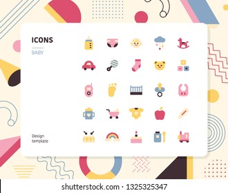 Simple color baby icon set. Pattern background layout flat design style minimal vector illustration
