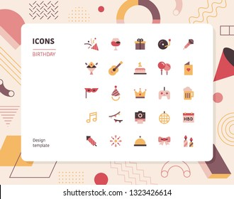 Simple color birthday icon set. Pattern background layout flat design style minimal vector illustration