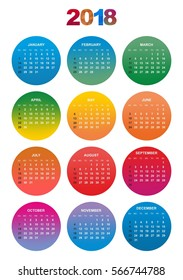 Simple color calendar for the year 2018. The names of days and months in a row numbered days in the colored circles on a white background