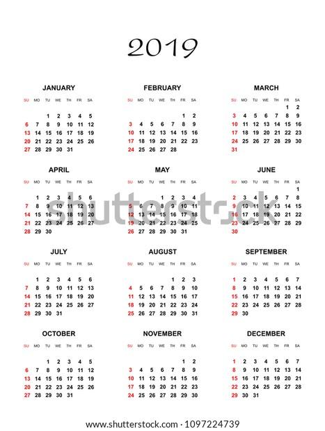 Simple Color Calendar Year 2019 Names Stock Vector (Royalty Free