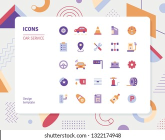 Simple color car service icon set. Pattern background layout flat design style minimal vector illustration