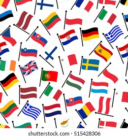 simple color curved flags all european union countries seamless pattern eps10