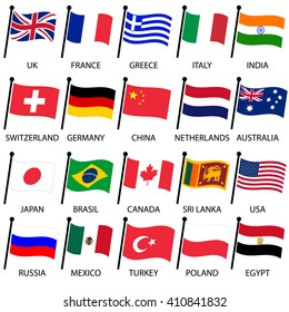 simple color curved flags of different country collection eps10