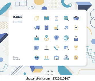 Simple color delivery icon set. Pattern background layout flat design style minimal vector illustration