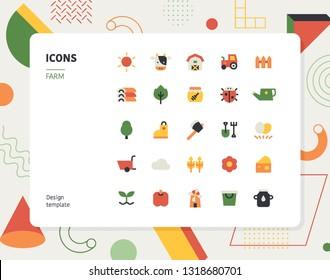 Simple color farm icon set. Pattern background layout flat design style minimal vector illustration