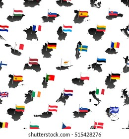 simple color flags all european union countries on maps seamless pattern eps10