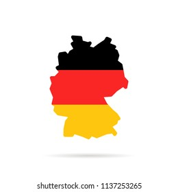 simple color germany map with shadow. concept of travel to deutschland or country border label. flat cartoon style trend modern logotype graphic art minimal design element on white background