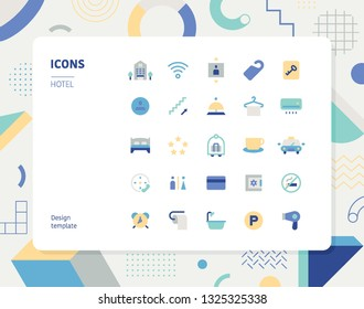Simple color hotel icon set. Pattern background layout flat design style minimal vector illustration
