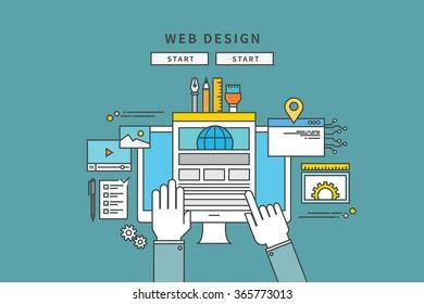 simple color line flat design of web design, modern vector illustration