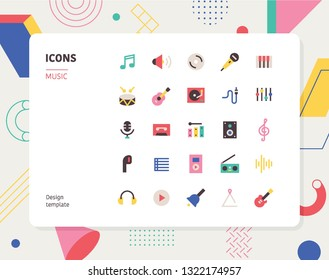 Simple color music icon set. Pattern background layout flat design style minimal vector illustration