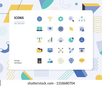 Simple color network icon set. Pattern background layout flat design style minimal vector illustration