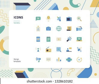 Simple color news icon set. Pattern background layout flat design style minimal vector illustration