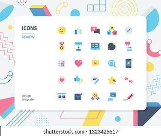 Simple color review icon set. Pattern background layout flat design style minimal vector illustration