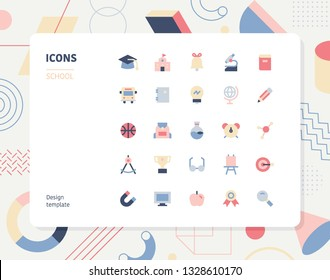 Simple color school icon set. Pattern background layout flat design style minimal vector illustration