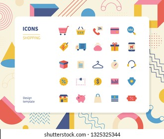 Simple color shopping icon set. Pattern background layout flat design style minimal vector illustration