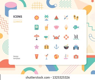 Simple color summer icon set. Pattern background layout flat design style minimal vector illustration