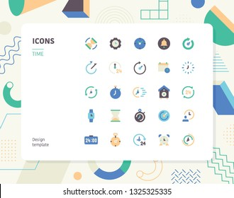 Simple color time icon set. Pattern background layout flat design style minimal vector illustration
