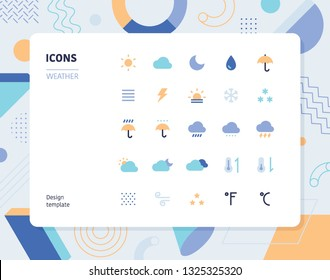Simple color wether icon set. Pattern background layout flat design style minimal vector illustration
