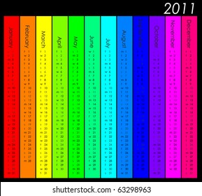Simple and colorful 2011 calendar in rainbow colors