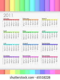 Simple colorful 2011 calender with week notations. Week starts on Monday.