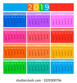 Simple colorful 2019 calendar. Vector illustration for your graphic design.
