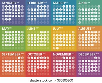 Simple colorful calendar for 2017. Week starts Sunday
