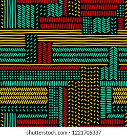 Simple colorful doodle strokes and dots on black geometric striped seamless pattern, vector