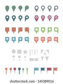 Simple Colorful Flat Map Pins and Elements. Isolated on White Vector Illustration.