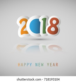 Simple Colorful New Year Card, Cover or Background Design Template With Paper Cut Numerals - 2018