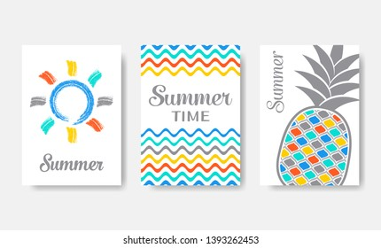 Simple colourful vector summer cards collection on white