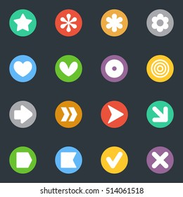 Simple common vector stickers icon in the circle set. Labels collection. Good for scrapbooking, diary, creativity use.