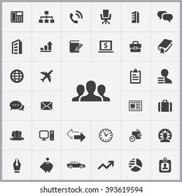 Simple company icons set. Universal company icons to use for web and mobile UI, set of basic UI company elements