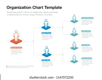 Simple company organization hierarchy chart template with place for your content. Easy to use for your website or presentation.